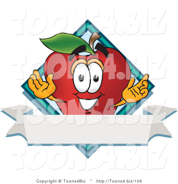 Vector Illustration of a Red Apple Mascot Label