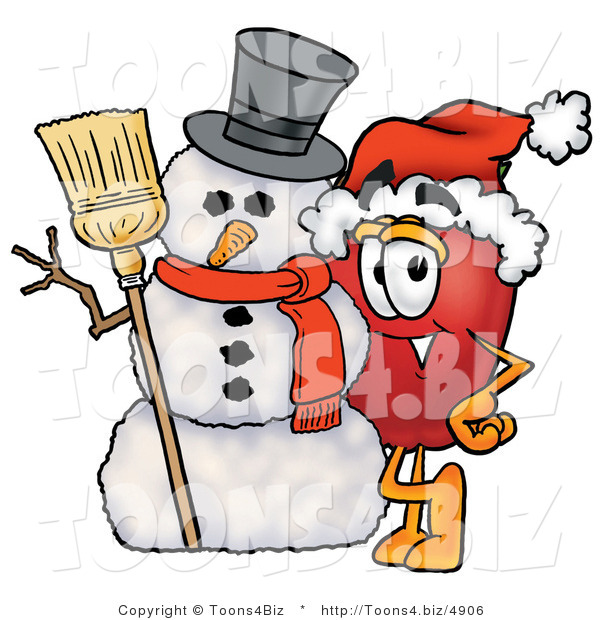 Vector Illustration of a Red Apple Mascot Leaning on a Snowman on Christmas
