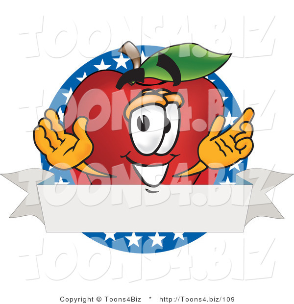 Vector Illustration of a Red Apple Mascot Logo with Stars