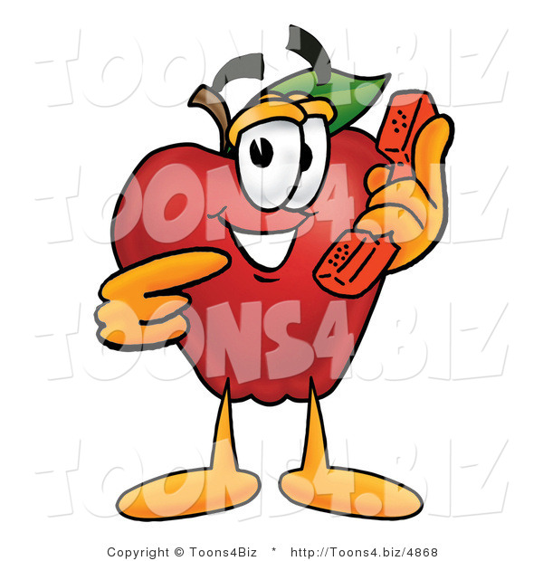 Vector Illustration of a Red Apple Mascot Talking on a Telephone
