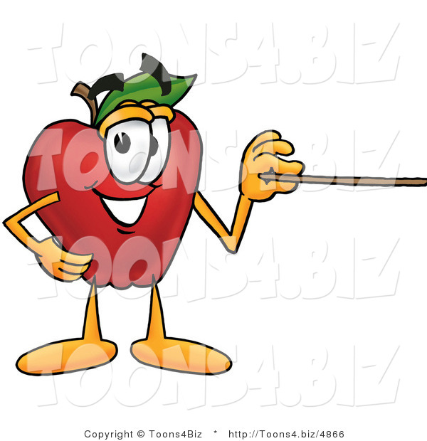 Vector Illustration of a Red Apple Mascot Using a Pointer Stick