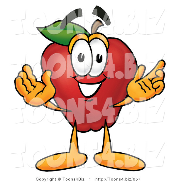 Vector Illustration of a Red Apple Mascot with Open Arms While Greeting Someone