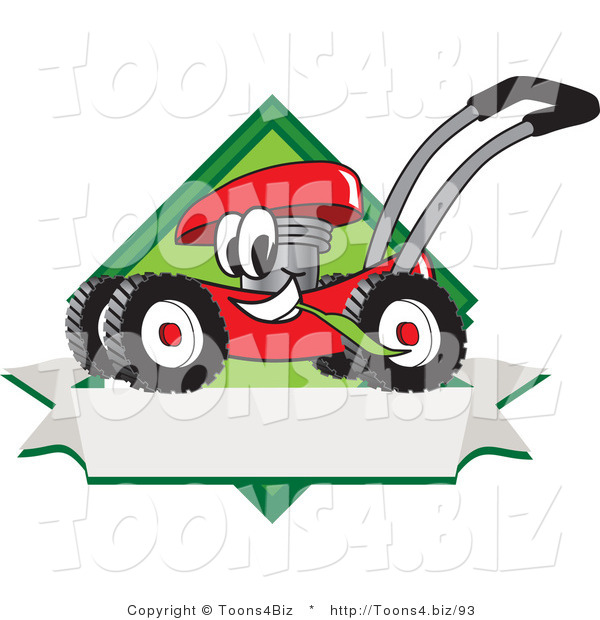 Vector Illustration of a Red Cartoon Lawn Mower Mascot Chewing Grass on a Blank Ribbon Label