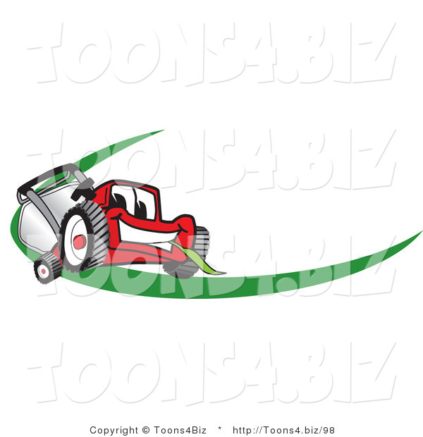 Vector Illustration of a Red Cartoon Lawn Mower Mascot Facing Front on a Logo or Nametag with a Green Dash