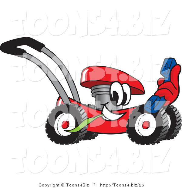 Vector Illustration of a Red Cartoon Lawn Mower Mascot Holding a Blue Telephone