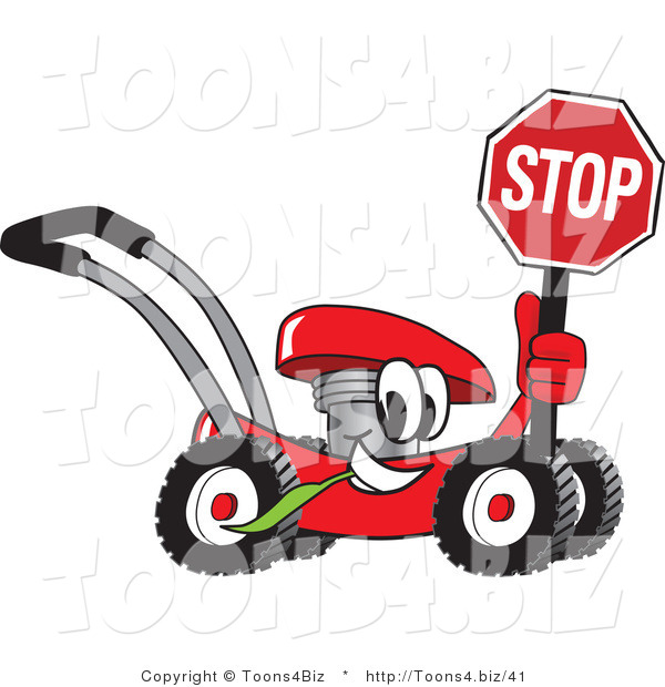 Vector Illustration of a Red Cartoon Lawn Mower Mascot Holding a Stop Sign