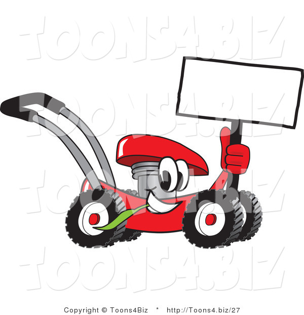 Vector Illustration of a Red Cartoon Lawn Mower Mascot Holding up a Blank Sign While Passing by