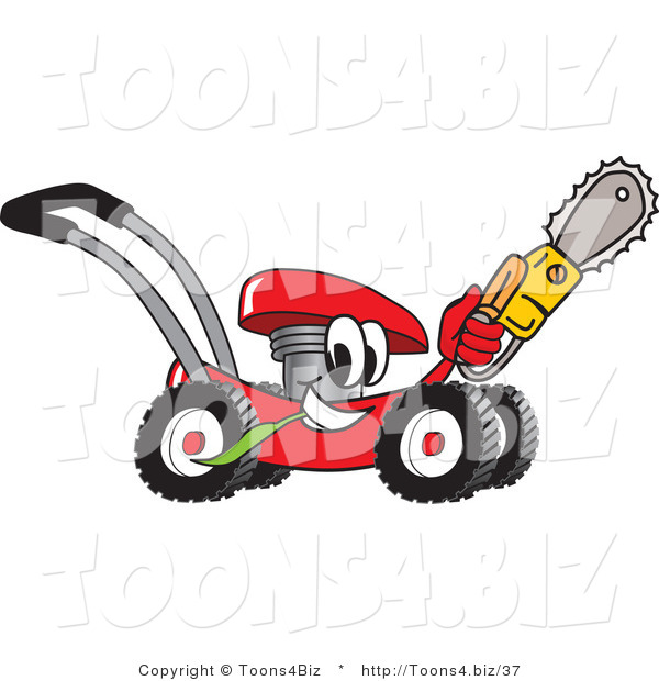 Vector Illustration of a Red Cartoon Lawn Mower Mascot Holding up a Saw