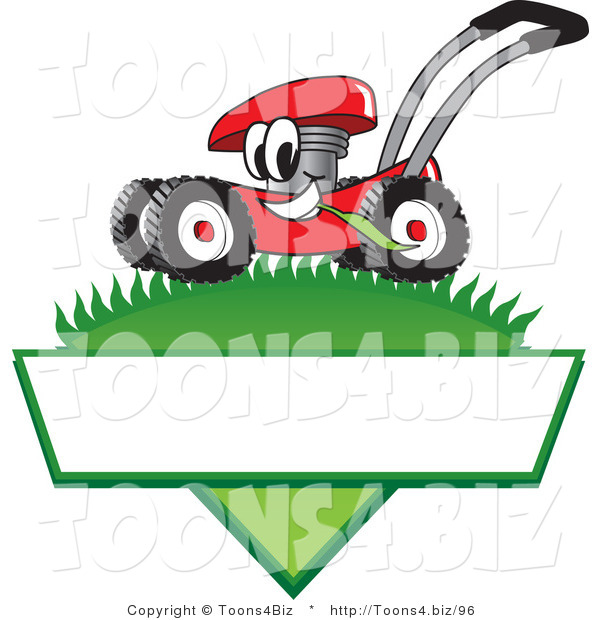 Vector Illustration of a Red Cartoon Lawn Mower Mascot Mowing Grass over a Blank White Label