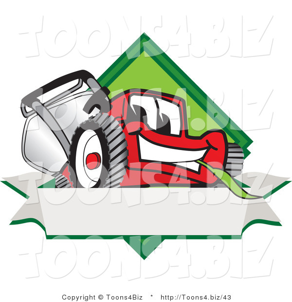 Vector Illustration of a Red Cartoon Lawn Mower Mascot on a Blank Label