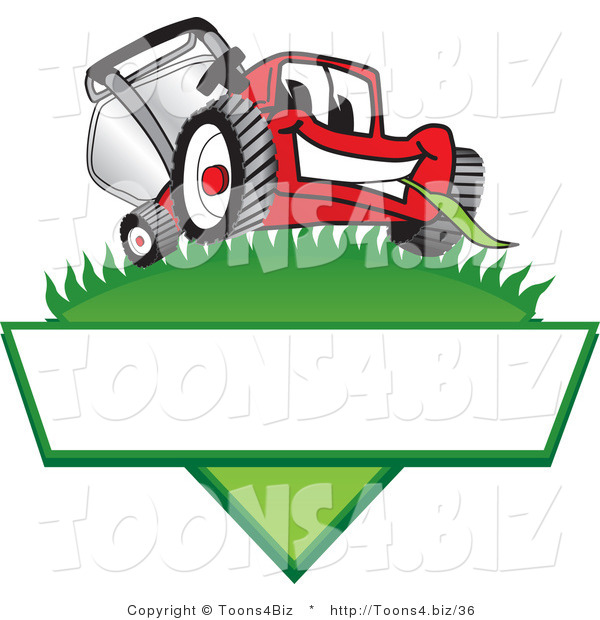 Vector Illustration of a Red Cartoon Lawn Mower Mascot on a Grassy Hill on a Blank Label