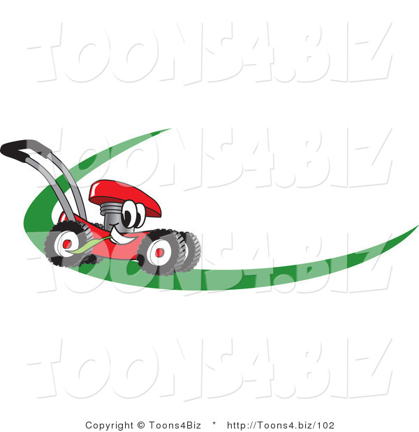 Vector Illustration of a Red Cartoon Lawn Mower Mascot on a Logo or Nametag with a Green Dash