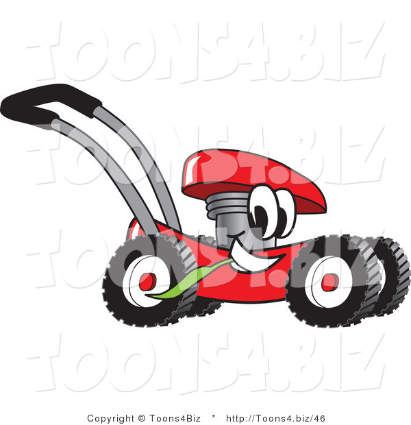 Vector Illustration of a Red Cartoon Lawn Mower Mascot Passing by and Chewing on a Blade of Grass