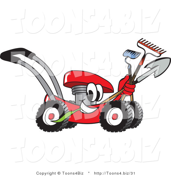 Vector Illustration of a Red Cartoon Lawn Mower Mascot Passing by with a Hoe, Rake and Shovel