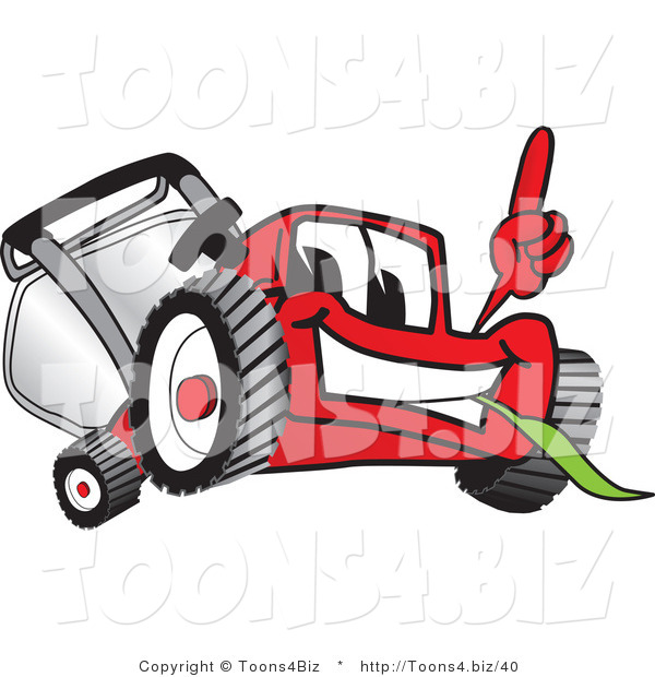 Vector Illustration of a Red Cartoon Lawn Mower Mascot Pointing Upwards