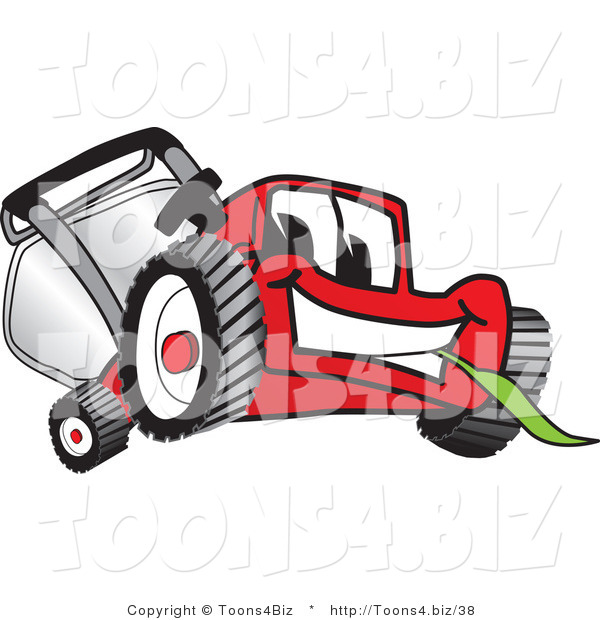 Vector Illustration of a Red Cartoon Lawn Mower Mascot Smiling and Eating Grass
