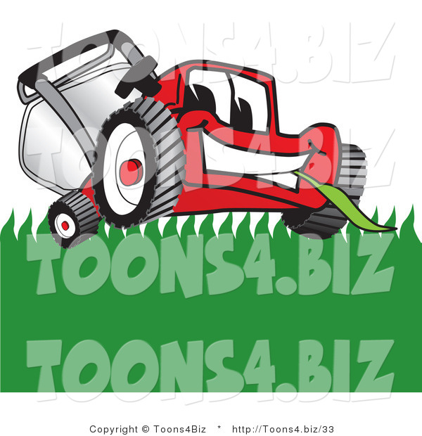 Vector Illustration of a Red Cartoon Lawn Mower Mascot Smiling While Mowing Grass