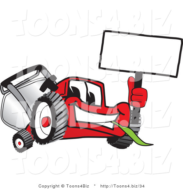 Vector Illustration of a Red Cartoon Lawn Mower Mascot Waving a Blank White Sign