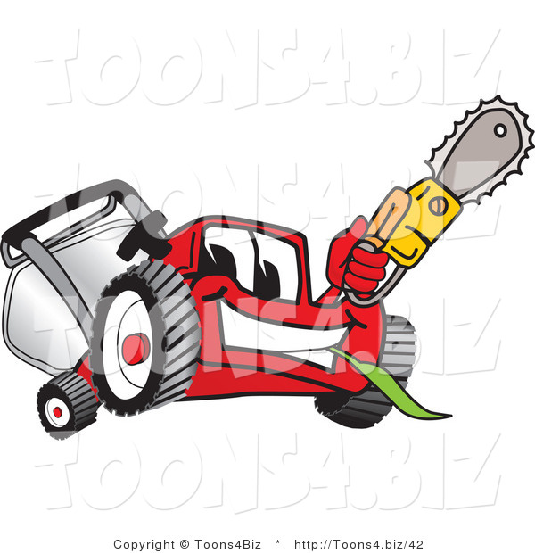 Vector Illustration of a Red Cartoon Lawn Mower Mascot Waving a Saw