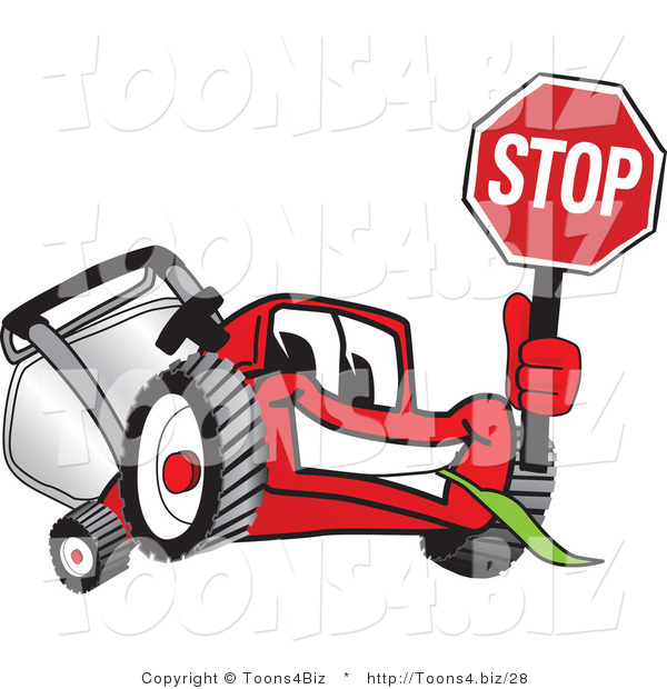 Vector Illustration of a Red Cartoon Lawn Mower Mascot Waving a Stop Sign