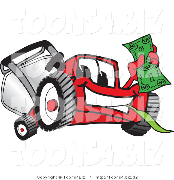 Vector Illustration of a Red Cartoon Lawn Mower Mascot Waving Cash