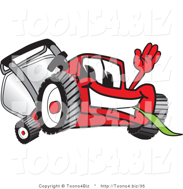 Vector Illustration of a Red Cartoon Lawn Mower Mascot Waving Hello and Eating Grass