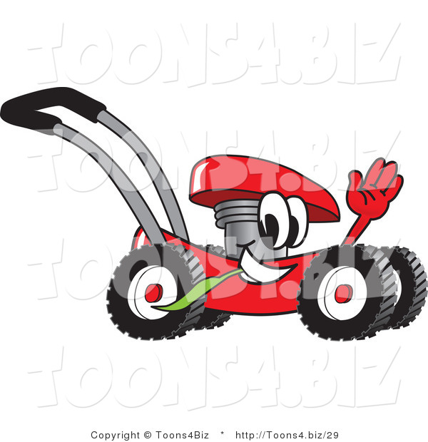 Vector Illustration of a Red Cartoon Lawn Mower Mascot Waving While Passing by