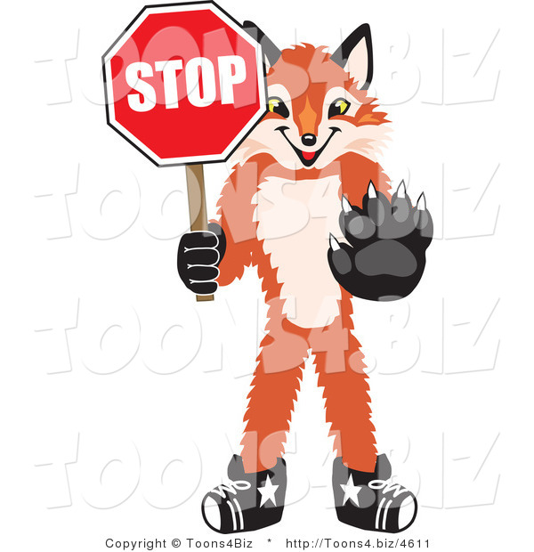 Vector Illustration of a Red Fox Mascot Holding a Stop Sign