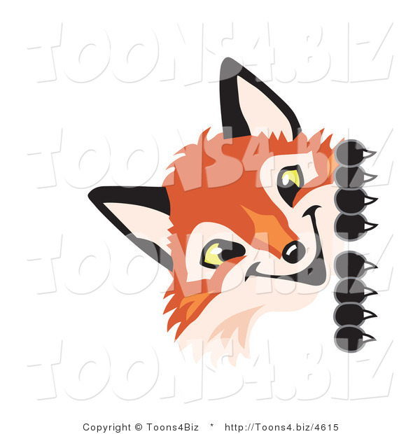 Vector Illustration of a Red Fox Mascot Peeking Around a Corner