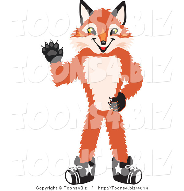 Vector Illustration of a Red Fox Mascot Waving