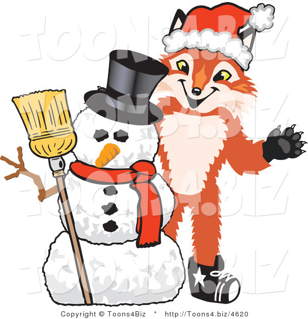 Vector Illustration of a Red Fox Mascot with a Snowman on Christmas