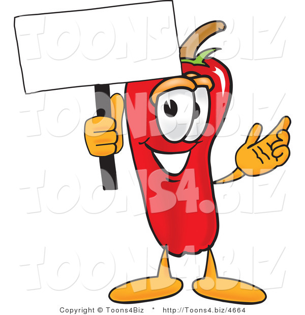 Vector Illustration of a Red Hot Chili Pepper Mascot Holding a Blank White Sign