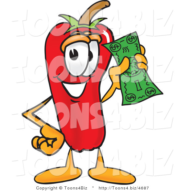 Vector Illustration of a Red Hot Chili Pepper Mascot Holding a Dollar Bill