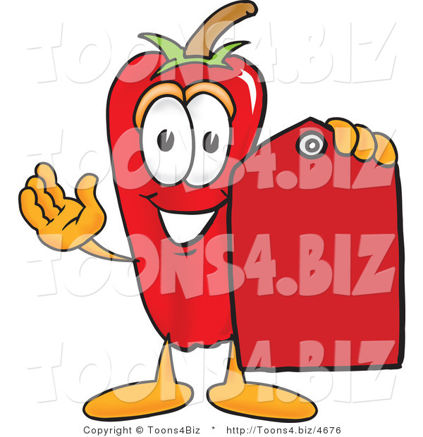 Vector Illustration of a Red Hot Chili Pepper Mascot Holding a Red Price Tag