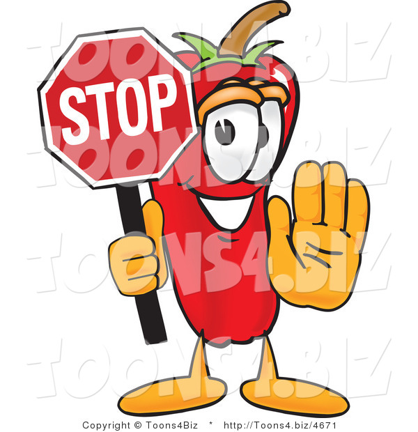 Vector Illustration of a Red Hot Chili Pepper Mascot Holding a Stop Sign