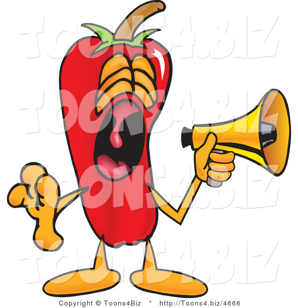 Vector Illustration of a Red Hot Chili Pepper Mascot Screaming into a Megaphone