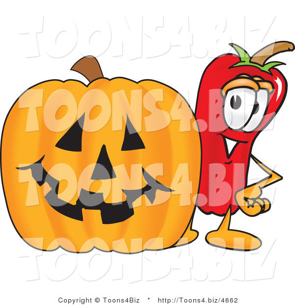 Vector Illustration of a Red Hot Chili Pepper Mascot Standing with a Carved Halloween Pumpkin
