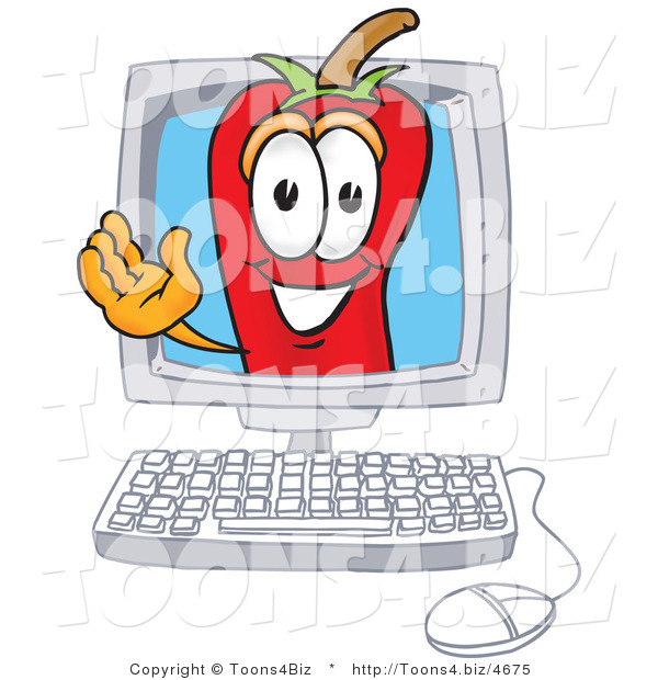Vector Illustration of a Red Hot Chili Pepper Mascot Waving in a Computer Screen