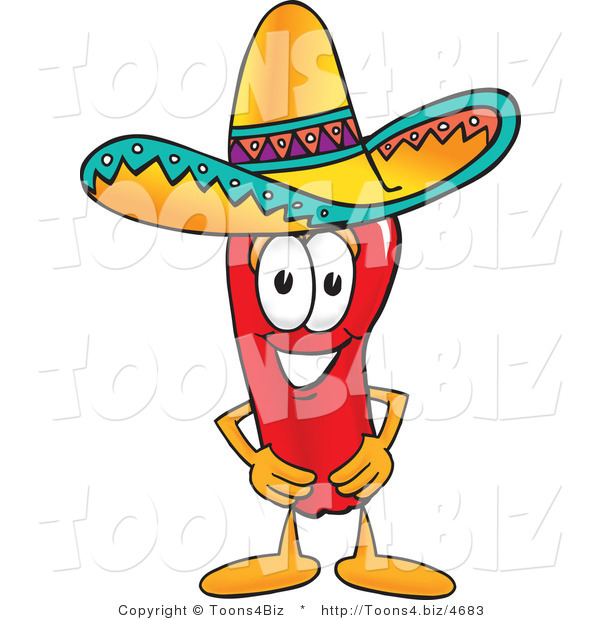 Vector Illustration of a Red Hot Chili Pepper Mascot Wearing a Sombrero
