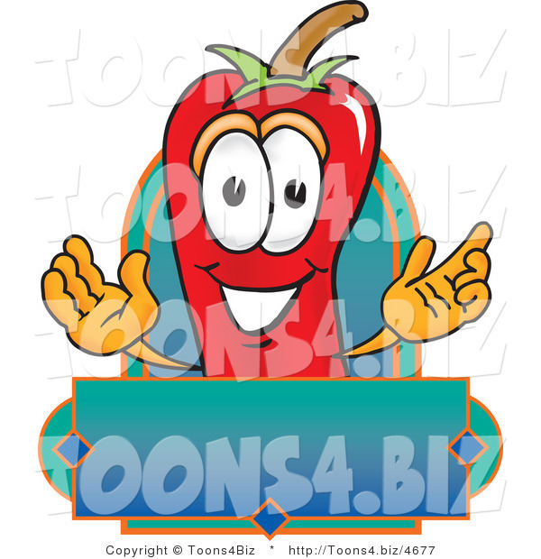 Vector Illustration of a Red Hot Chili Pepper Mascot with a Blank Label