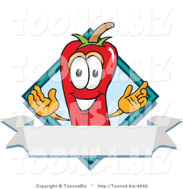 Vector Illustration of a Red Hot Chili Pepper Mascot with a Blue Diamond and Blank Label