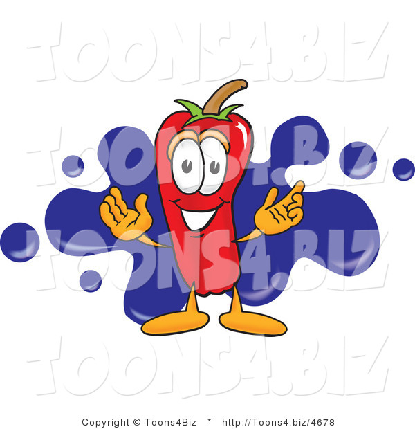 Vector Illustration of a Red Hot Chili Pepper Mascot with a Blue Paint Splatter