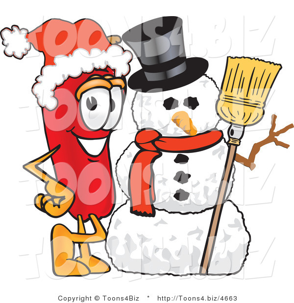 Vector Illustration of a Red Hot Chili Pepper Mascot with a Snowman on Christmas