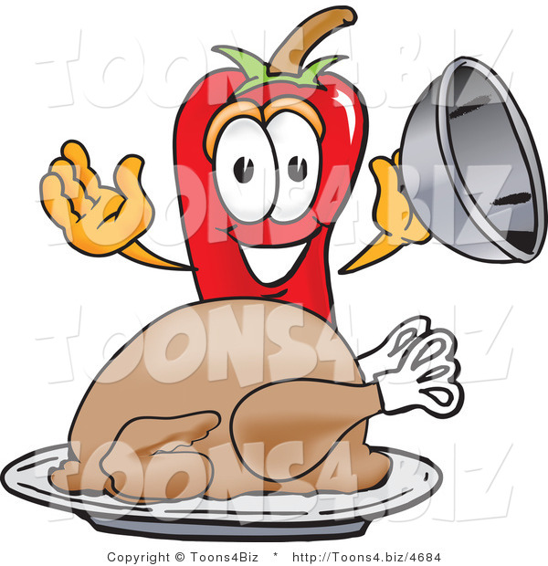 Vector Illustration of a Red Hot Chili Pepper Mascot with a Turkey in a Platter