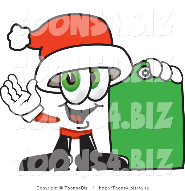 Vector Illustration of a Santa Mascot Holding a Yellow Sales Price Tag