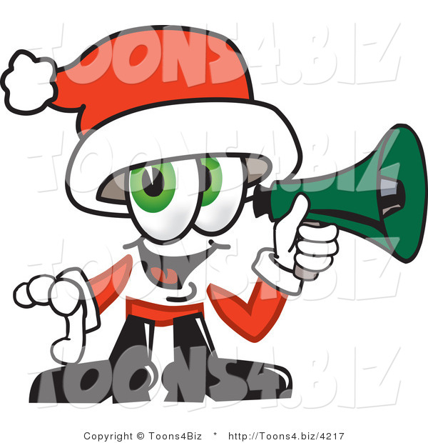 Vector Illustration of a Santa Mascot Screaming into a Megaphone