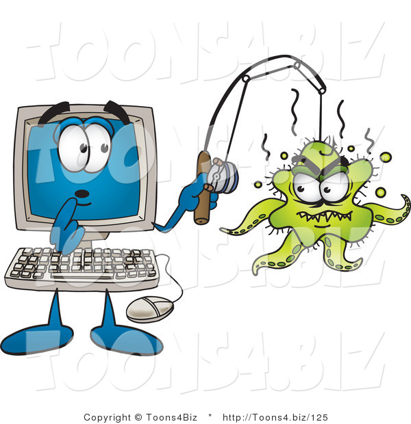 Vector Illustration of a Shocked Cartoon Computer Mascot with an Octopus on His Fishing Line