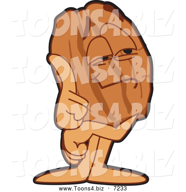 Vector Illustration of a Smart Pecan Mascot Character