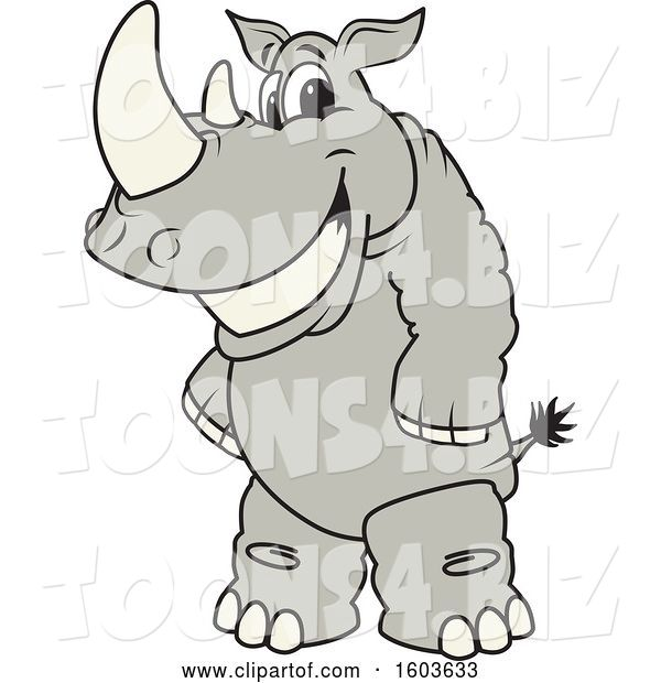 Vector Illustration of a Smiling Cartoon Rhinoceros School Mascot Character