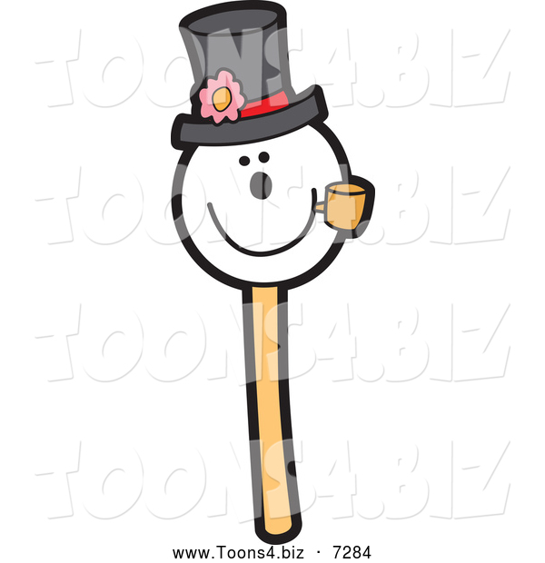 Vector Illustration of a Snowman Wearing a Hat and Smoking a Pipe Cake Pop Dessert
